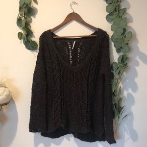 FREE PEOPLE charcoal loose knit sweater